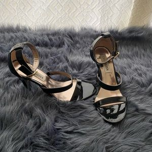 Black Patent Leather Steve Madden Sandal Heels